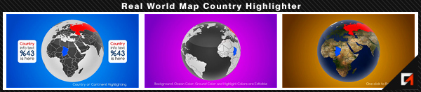 Real World Map Country Highlighter - 24